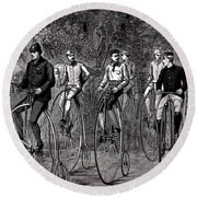 High Wheeled Victorian Bicyclers Round Beach Towel