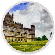 Round Beach Towel featuring the painting Highclere Castle by Georgi Dimitrov