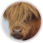 Highland Cow Painting Round Beach Towel