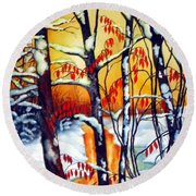 Highland Creek Sunset 2  Round Beach Towel by Inese Poga