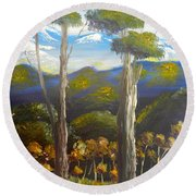 Highlands Gum Trees Round Beach Towel