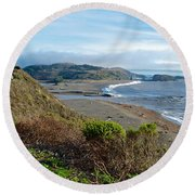 Highway 1 Near Outlet Of Russian River Into Pacific Ocean Near Jenner-ca  Round Beach Towel