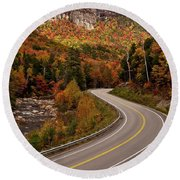 Highway In New Hampshire Round Beach Towel