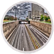 Round Beach Towel featuring the photograph Highway Into St. Louis by Deborah Klubertanz