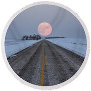 Highway To The Moon Round Beach Towel