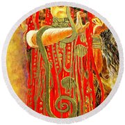 Higieja-according To Gustaw Klimt Round Beach Towel by Henryk Gorecki