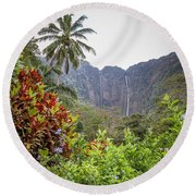 Hiilawe And Hakalaoa Falls Round Beach Towel