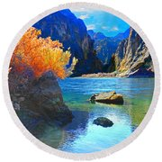 Hikers Haven Two Round Beach Towel by Alan Socolik