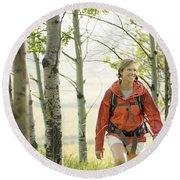 Hiking Through Trees And Grass Round Beach Towel