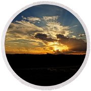 Hill Country Sunset Round Beach Towel
