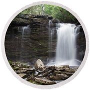 Second Fall Of Hills Creek Round Beach Towel