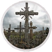 Hill Of Crosses 06. Lithuania.  Round Beach Towel by Ausra Huntington nee Paulauskaite