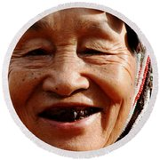 Round Beach Towel featuring the photograph Hill Tribe Smile by Nola Lee Kelsey