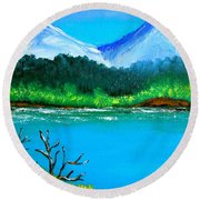 Hills By The Lake Round Beach Towel by Cyril Maza