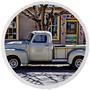 Round Beach Towel featuring the painting Hillsboro New Mexico 1949 Gmc 100 by Barbara Chichester