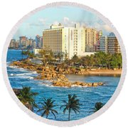 Round Beach Towel featuring the photograph Hilton Conrad by Daniel Sheldon