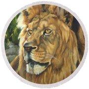 Him - Lion Round Beach Towel by Lori Brackett