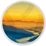 Himalaya In The Morning Light Round Beach Towel