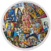 Hindu Deity Posters Round Beach Towel by Tim Gainey