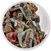 Hindu Gods And Goddesses At Temple Round Beach Towel