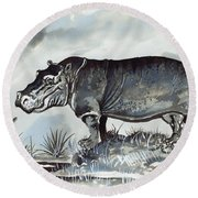 Hippo Round Beach Towel