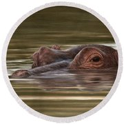 Hippo Painting Round Beach Towel