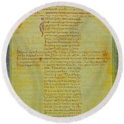 Hippocratic Oath On Vintage Parchment Paper Round Beach Towel