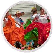 Hispanic Women Dancing In Colorful Skirts Art Prints Round Beach Towel