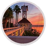 Historic Bridge Street Pier Sunrise Round Beach Towel by HH Photography of Florida
