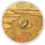 Historic Bunker Hill Battleground Map 1775 Round Beach Towel