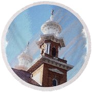 Historic Church Steeples Round Beach Towel