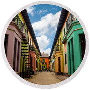 Historic Colorful Buildings Round Beach Towel