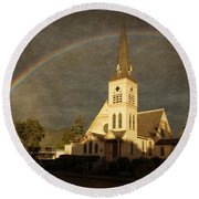 Historic Methodist Church In Rainbow Light Round Beach Towel by Mick Anderson