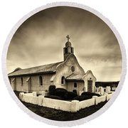 Historic Old Adobe Spanish Style Catholic Church San Ysidro New Mexico Round Beach Towel by Jerry Cowart