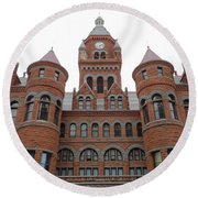 Round Beach Towel featuring the photograph Historic Old Red Courthouse Dallas #1 by Robert ONeil