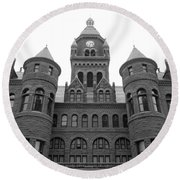 Round Beach Towel featuring the photograph Historic Old Red Courthouse Dallas #2 by Robert ONeil