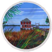 Historic Ormond Boathouse Round Beach Towel