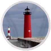 Round Beach Towel featuring the photograph Historic Pierhead Lighthouse by Kay Novy