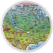 Historic Route 66 Cartoon Map Round Beach Towel