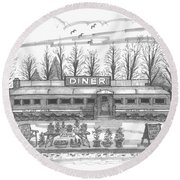 Historic Village Diner Round Beach Towel