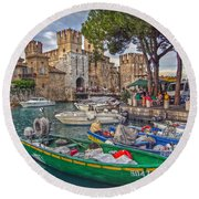 History At Lake Garda Round Beach Towel
