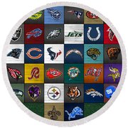 Hit The Gridiron Football League Retro Team Logos Recycled Vintage License Plate Art Round Beach Towel