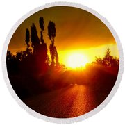 Round Beach Towel featuring the photograph Hit The Road Jack by Zafer Gurel