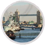 Hms Belfast London Round Beach Towel