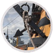 Hms Diamond And Hms Victory Round Beach Towel