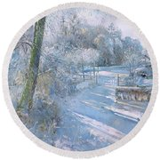 Hoar Frost Morning Round Beach Towel