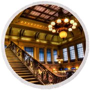 Hoboken Terminal Round Beach Towel by Anthony Sacco