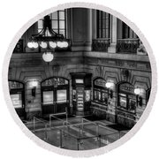 Hoboken Terminal Waiting Room Round Beach Towel by Anthony Sacco