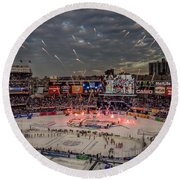 Hockey At Yankee Stadium Round Beach Towel