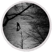 Hockey Silhouette Round Beach Towel
